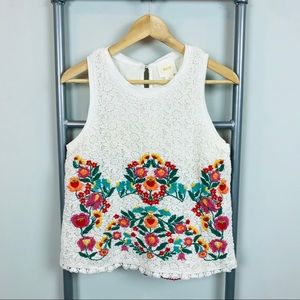 Maeve White floral crochet embroidered blouse